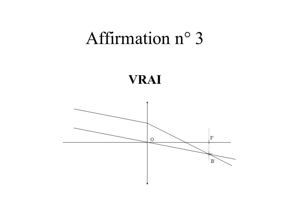Affirmation n° 3 VRAI F' O B'