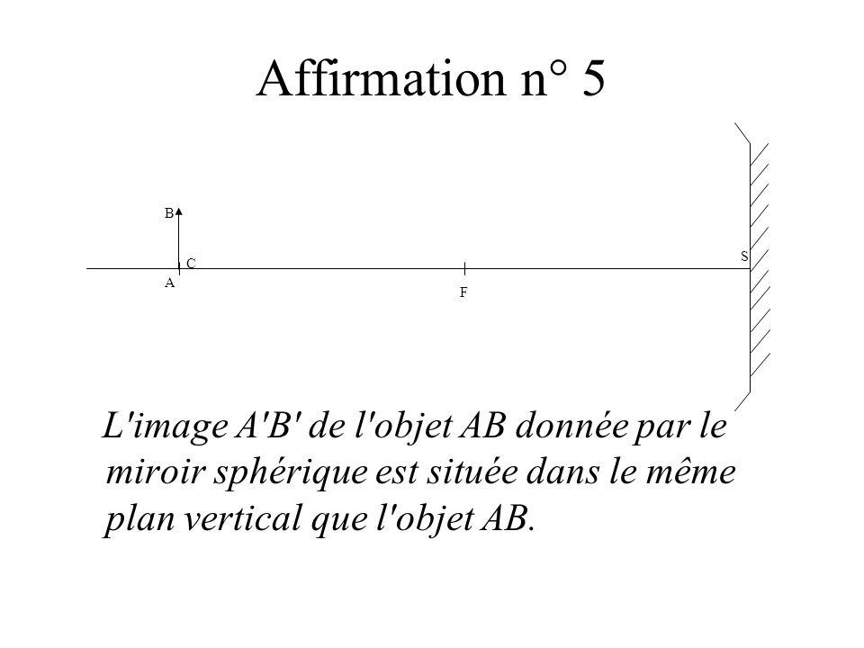 Affirmation n° 5 L'image A'B' de l'objet AB donnée par le miroir sphérique est située dans le même plan vertical que l'objet AB. S F BABA C