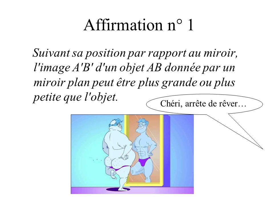 Affirmation n° 1 Suivant sa position par rapport au miroir, l'image A'B' d'un objet AB donnée par un miroir plan peut être plus grande ou plus petite