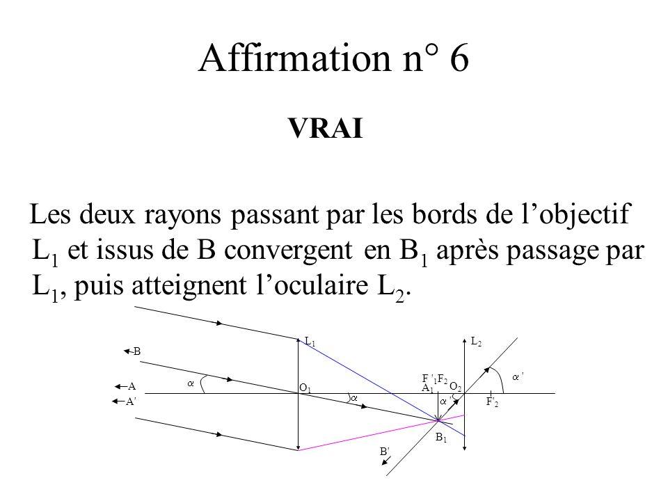 Affirmation n° 6 VRAI Les deux rayons passant par les bords de lobjectif L 1 et issus de B convergent en B 1 après passage par L 1, puis atteignent lo