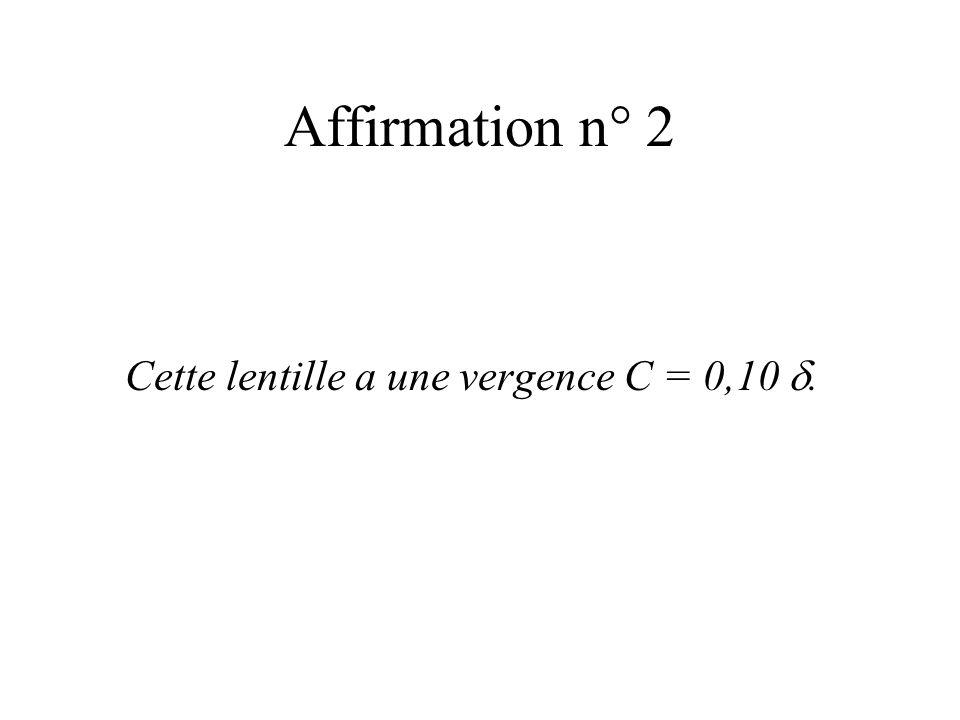 Affirmation n° 2 Une lentille, de distance focale f = 10 cm, a une vergence C = 0,10. FAUX