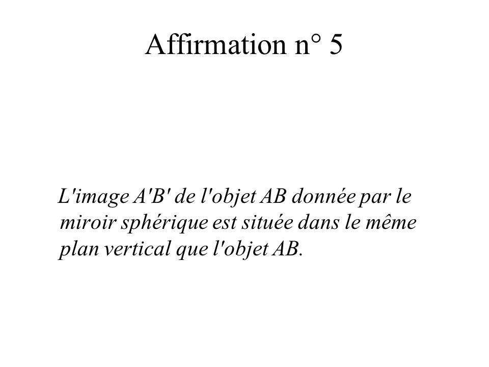 Affirmation n° 5 L'image A'B' de l'objet AB donnée par le miroir sphérique est située dans le même plan vertical que l'objet AB.