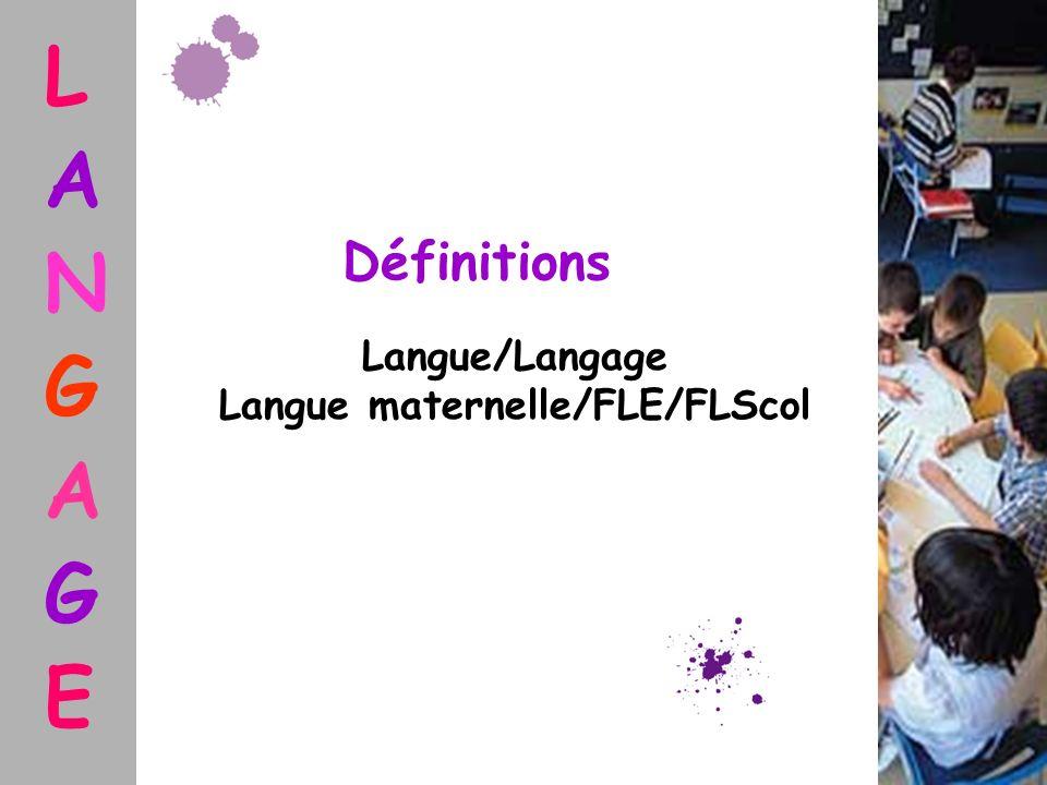 L A N G A G E Définitions Langue/Langage Langue maternelle/FLE/FLScol