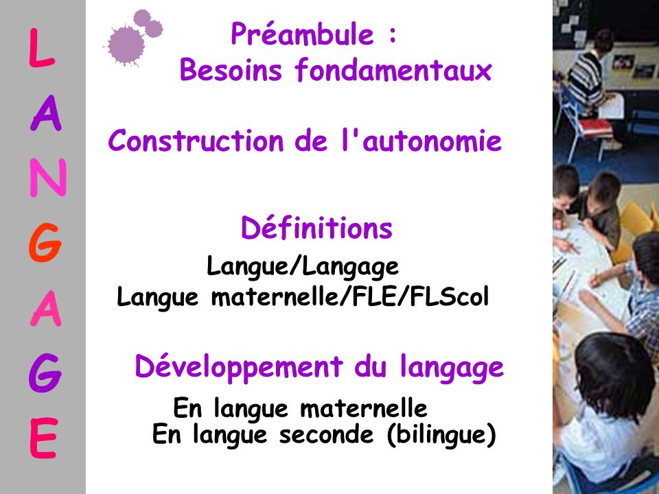 L A N G A G E Définitions Développement du langage En langue maternelle En langue seconde (bilingue) Langue/Langage Langue maternelle/FLE/FLScol Préam