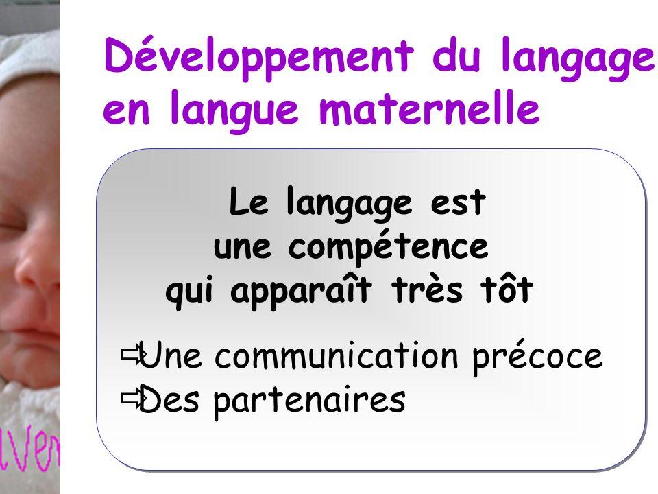 Développement du langage en langue maternelle Le langage est une compétence qui apparaît très tôt Une communication précoce Des partenaires Le langage