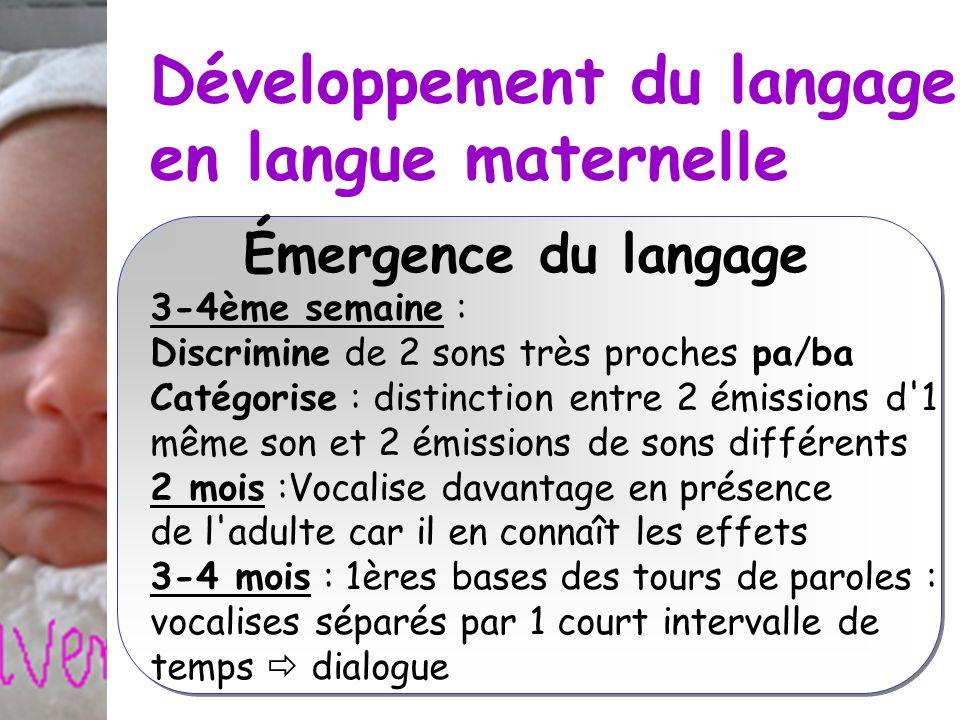 Développement du langage en langue maternelle Émergence du langage 3-4ème semaine : Discrimine de 2 sons très proches pa/ba Catégorise : distinction e
