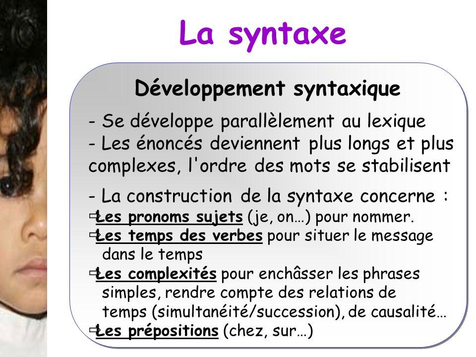 La syntaxe Développement syntaxique - Se développe parallèlement au lexique - Les énoncés deviennent plus longs et plus complexes, l'ordre des mots se