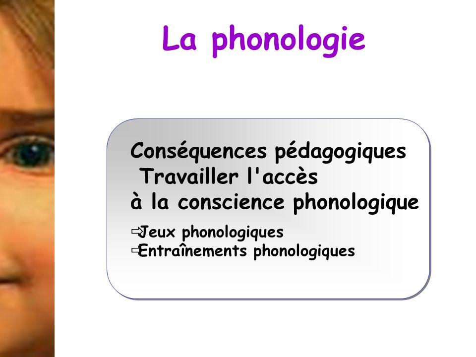 La phonologie Conséquences pédagogiques Travailler l'accès à la conscience phonologique Jeux phonologiques Entraînements phonologiques Conséquences pé