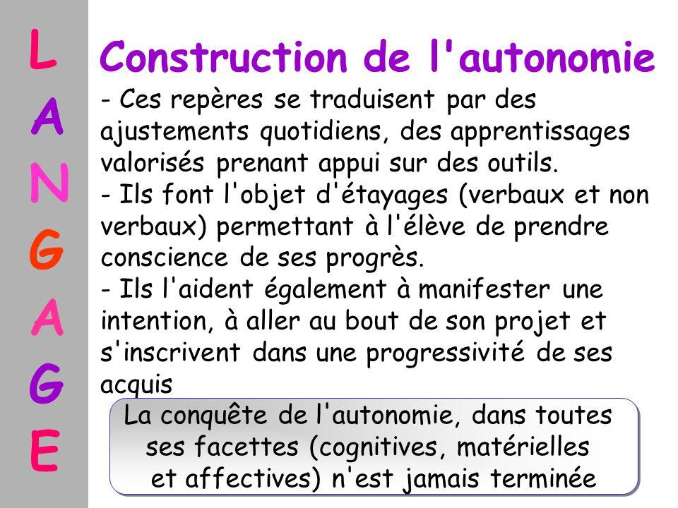 Construction de l'autonomie - Ces repères se traduisent par des ajustements quotidiens, des apprentissages valorisés prenant appui sur des outils. - I