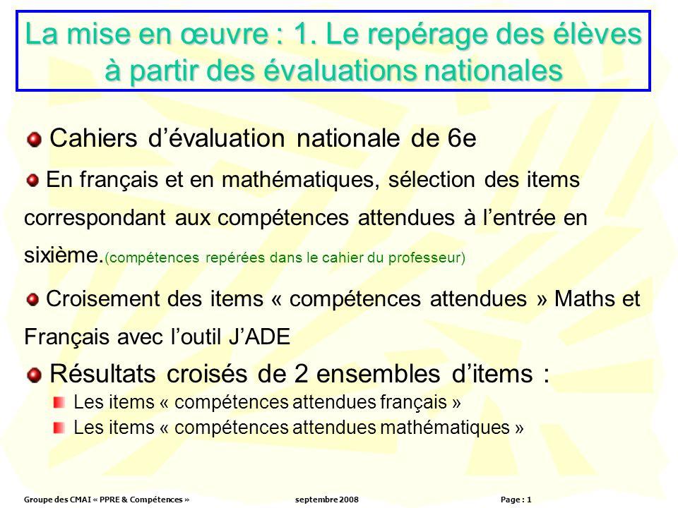 Groupe des CMAI « PPRE & Compétences »septembre 2008 Page : 1 La mise en œuvre : 1.