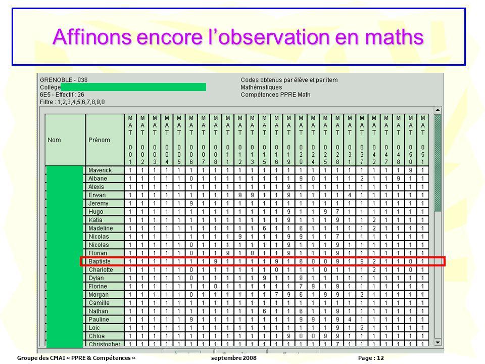 Groupe des CMAI « PPRE & Compétences »septembre 2008 Page : 12 Affinons encore lobservation en maths