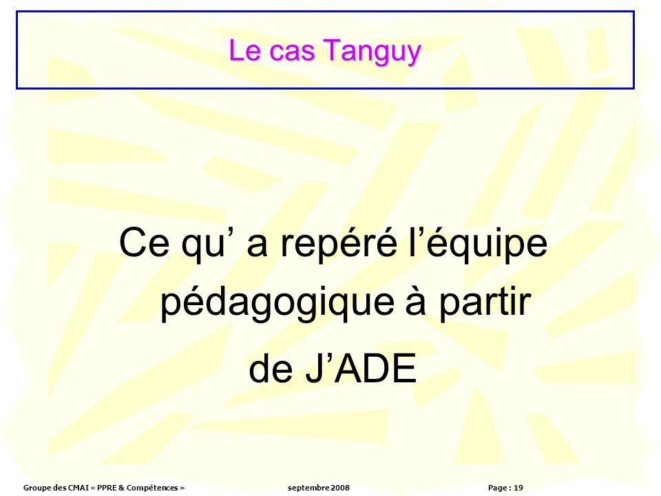 Groupe des CMAI « PPRE & Compétences »septembre 2008 Page : 19 Le cas Tanguy Ce qu a repéré léquipe pédagogique à partir de JADE