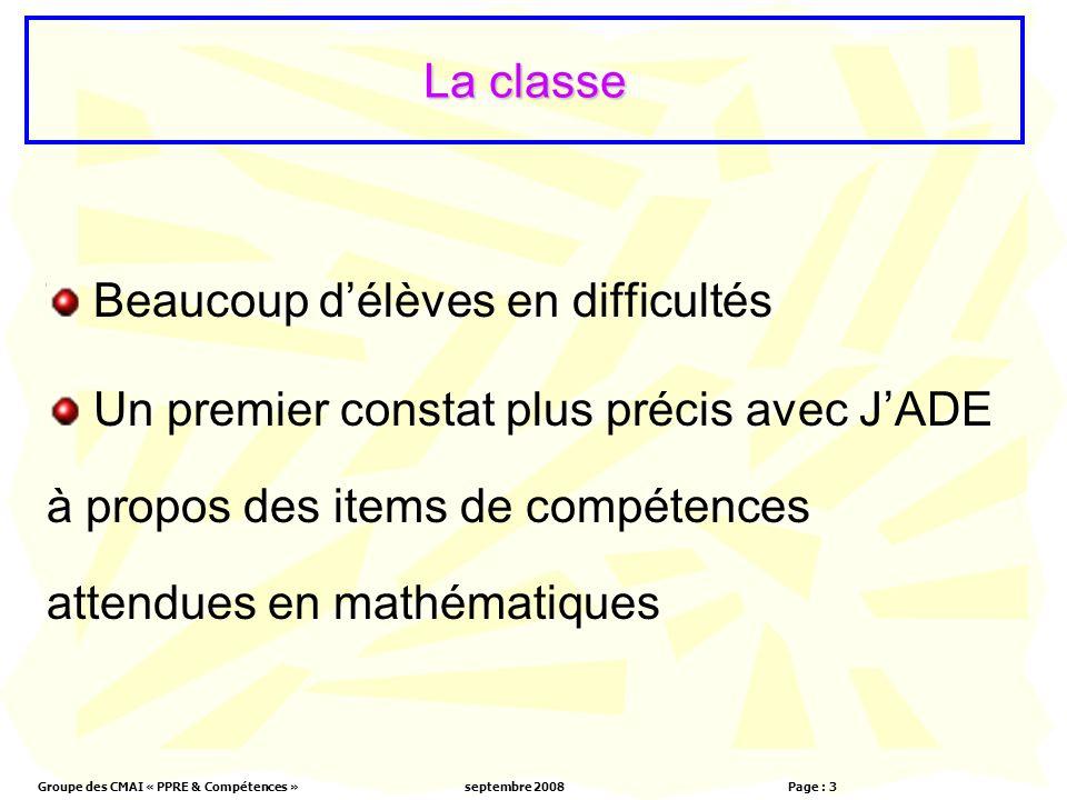 Groupe des CMAI « PPRE & Compétences »septembre 2008 Page : 3 La classe Beaucoup délèves en difficultés Un premier constat plus précis avec JADE à propos des items de compétences attendues en mathématiques