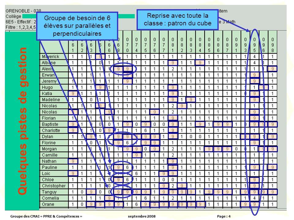 Groupe des CMAI « PPRE & Compétences »septembre 2008 Page : 4 Quelques pistes de gestion Reprise avec toute la classe : patron du cube Groupe de besoin de 6 élèves sur parallèles et perpendiculaires