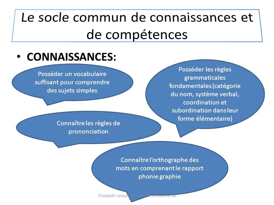 CONNAISSANCES: Posséder un vocabulaire suffisant pour comprendre des sujets simples Posséder les règles grammaticales fondamentales (catégorie du nom,