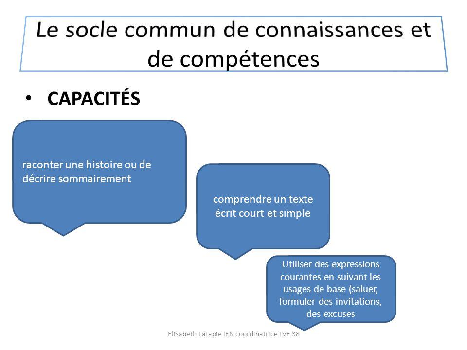 CAPACITÉS comprendre un texte écrit court et simple raconter une histoire ou de décrire sommairement Utiliser des expressions courantes en suivant les