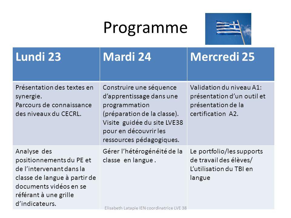 Programme Lundi 23Mardi 24Mercredi 25 Présentation des textes en synergie. Parcours de connaissance des niveaux du CECRL. Construire une séquence dapp