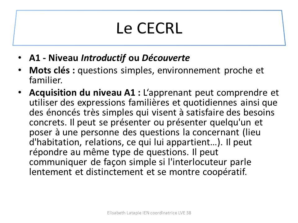 A1 - Niveau Introductif ou Découverte Mots clés : questions simples, environnement proche et familier. Acquisition du niveau A1 : Lapprenant peut comp