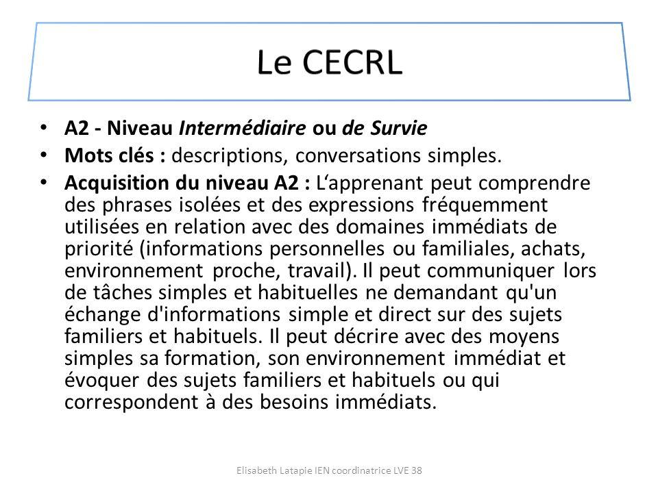 A2 - Niveau Intermédiaire ou de Survie Mots clés : descriptions, conversations simples. Acquisition du niveau A2 : Lapprenant peut comprendre des phra