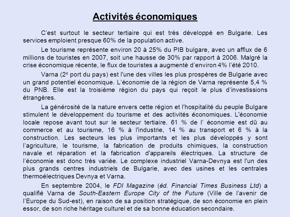 Activités économiques Cest surtout le secteur tertiaire qui est très développé en Bulgarie. Les services emploient presque 60% de la population active