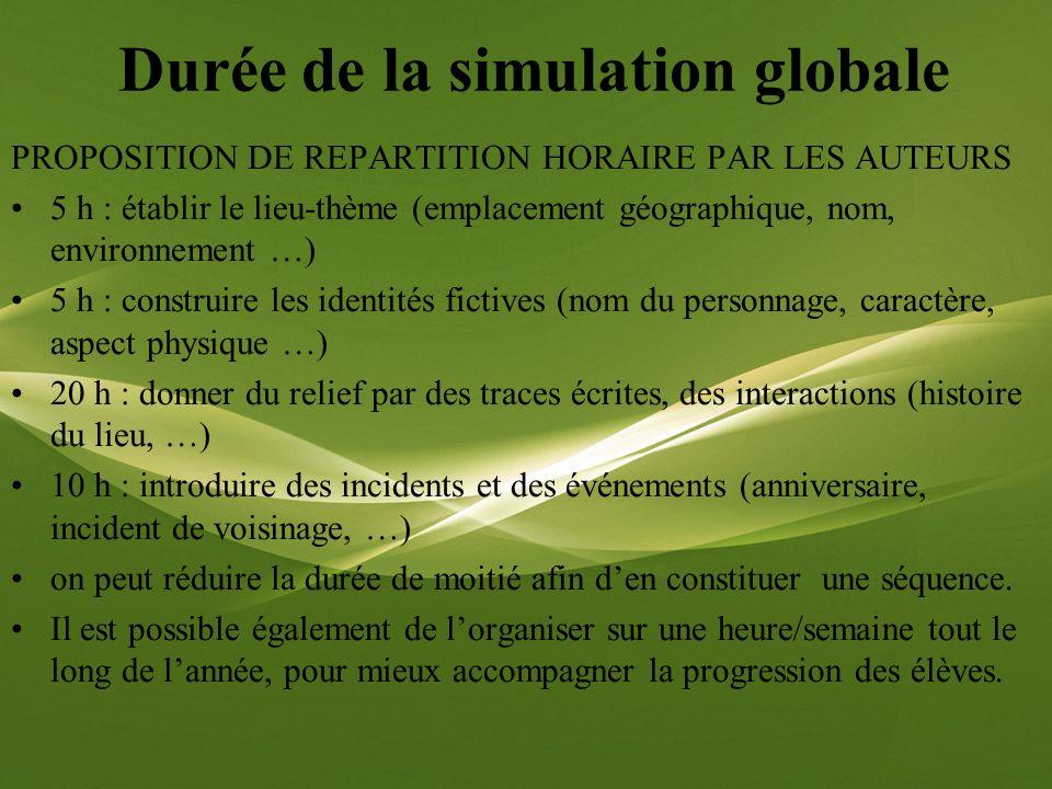 Durée de la simulation globale PROPOSITION DE REPARTITION HORAIRE PAR LES AUTEURS 5 h : établir le lieu-thème (emplacement géographique, nom, environn