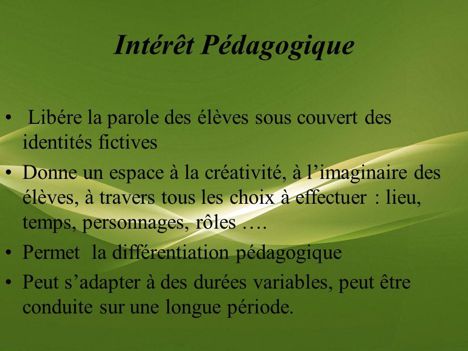 Intérêt Pédagogique Libére la parole des élèves sous couvert des identités fictives Donne un espace à la créativité, à limaginaire des élèves, à trave