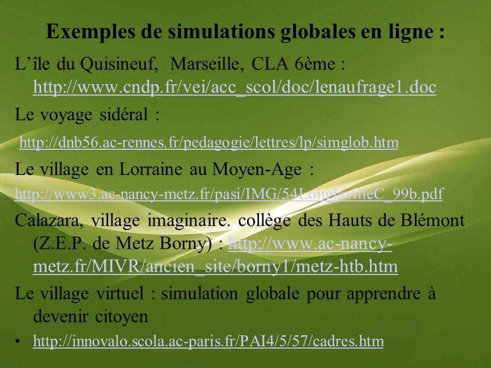 Exemples de simulations globales en ligne : Lîle du Quisineuf, Marseille, CLA 6ème : http://www.cndp.fr/vei/acc_scol/doc/lenaufrage1.doc http://www.cn