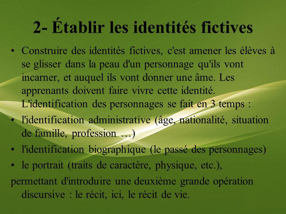 2- Établir les identités fictives Construire des identités fictives, c'est amener les élèves à se glisser dans la peau d'un personnage qu'ils vont inc