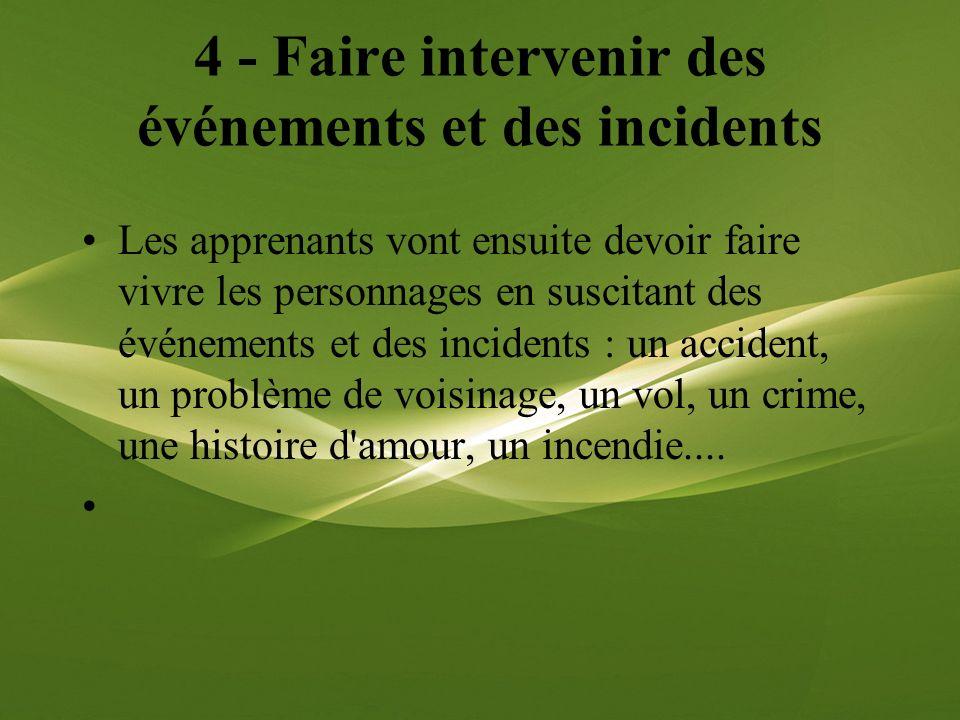 4 - Faire intervenir des événements et des incidents Les apprenants vont ensuite devoir faire vivre les personnages en suscitant des événements et des