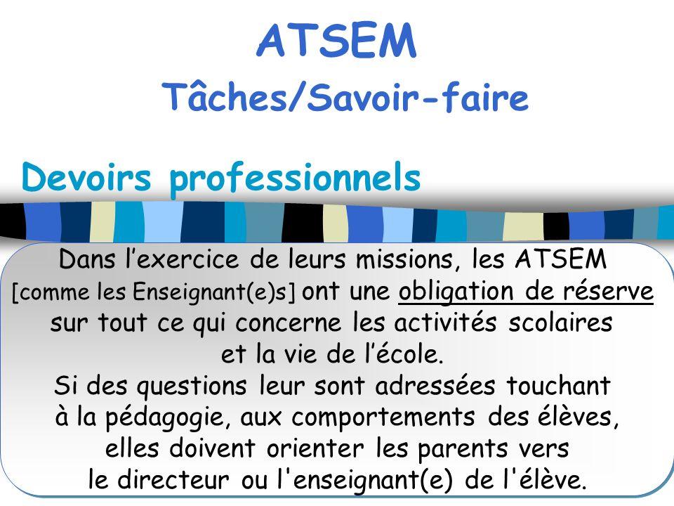 ATSEM Tâches/Savoir-faire Devoirs professionnels Dans lexercice de leurs missions, les ATSEM [comme les Enseignant(e)s] ont une obligation de réserve