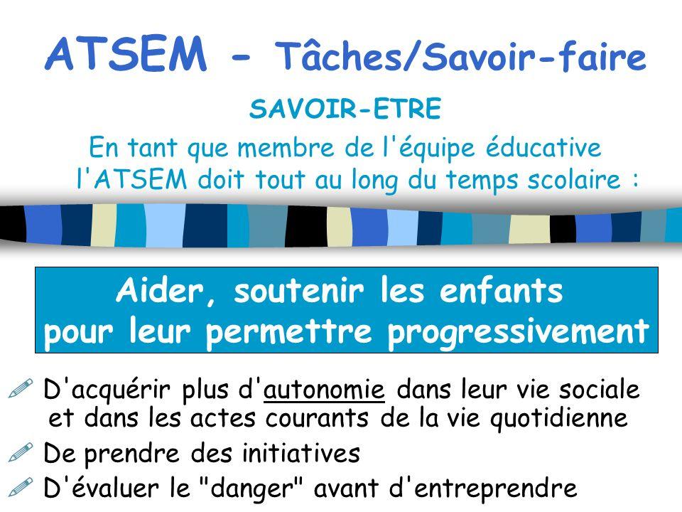 ATSEM - Tâches/Savoir-faire SAVOIR-ETRE En tant que membre de l'équipe éducative l'ATSEM doit tout au long du temps scolaire : D'acquérir plus d'auton