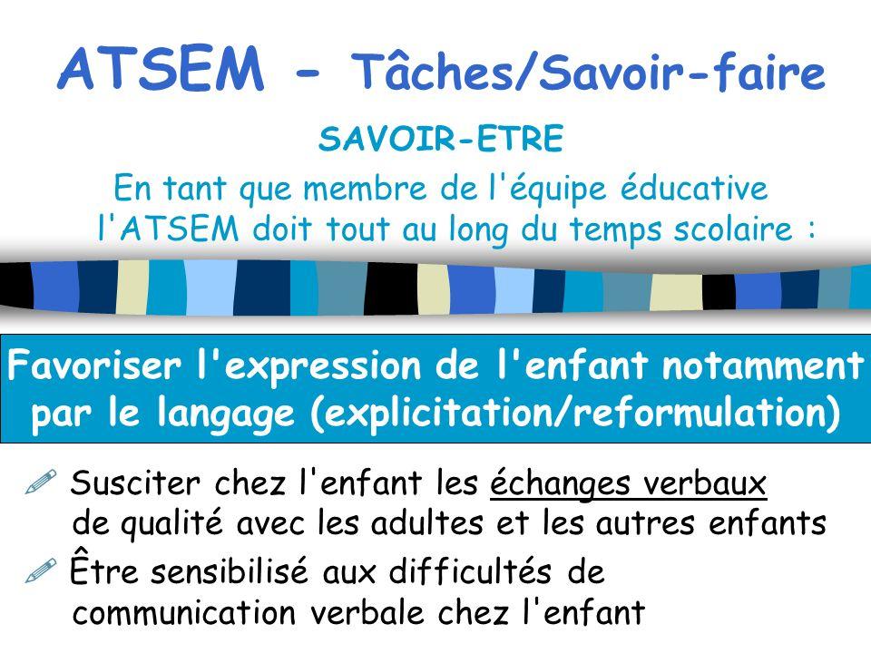 ATSEM - Tâches/Savoir-faire SAVOIR-ETRE En tant que membre de l'équipe éducative l'ATSEM doit tout au long du temps scolaire : Susciter chez l'enfant