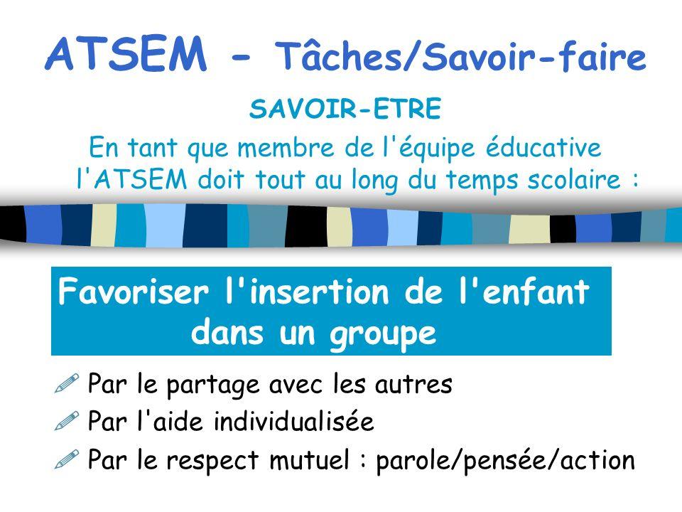 ATSEM - Tâches/Savoir-faire SAVOIR-ETRE En tant que membre de l'équipe éducative l'ATSEM doit tout au long du temps scolaire : Par le partage avec les