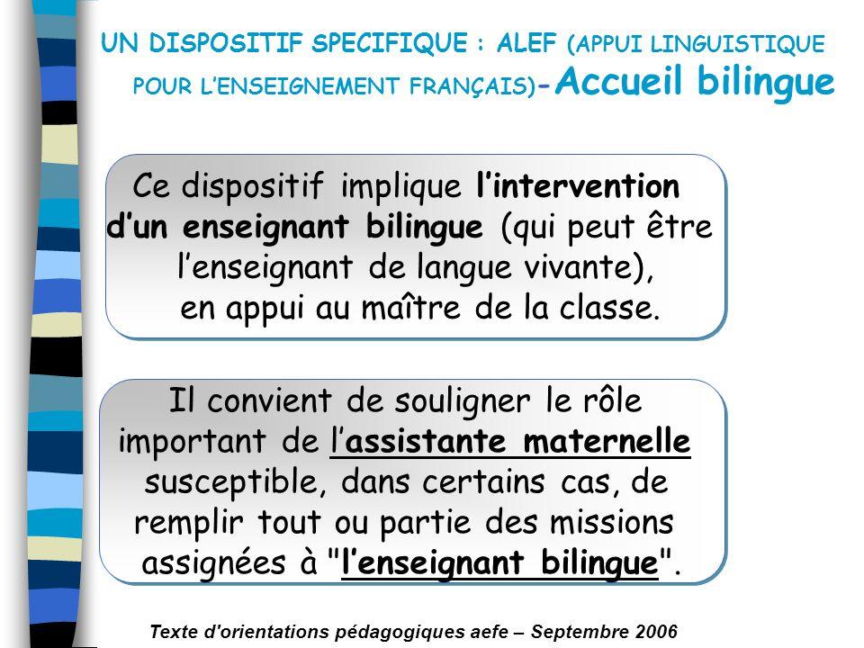 UN DISPOSITIF SPECIFIQUE : ALEF (APPUI LINGUISTIQUE POUR LENSEIGNEMENT FRANÇAIS) - Accueil bilingue Ce dispositif implique lintervention dun enseignan