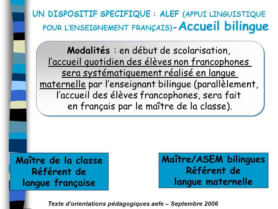 UN DISPOSITIF SPECIFIQUE : ALEF (APPUI LINGUISTIQUE POUR LENSEIGNEMENT FRANÇAIS) - Accueil bilingue Modalités : en début de scolarisation, laccueil qu