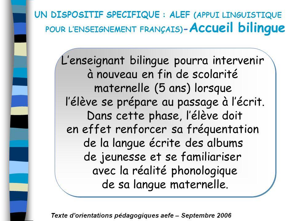 UN DISPOSITIF SPECIFIQUE : ALEF (APPUI LINGUISTIQUE POUR LENSEIGNEMENT FRANÇAIS) - Accueil bilingue Lenseignant bilingue pourra intervenir à nouveau e