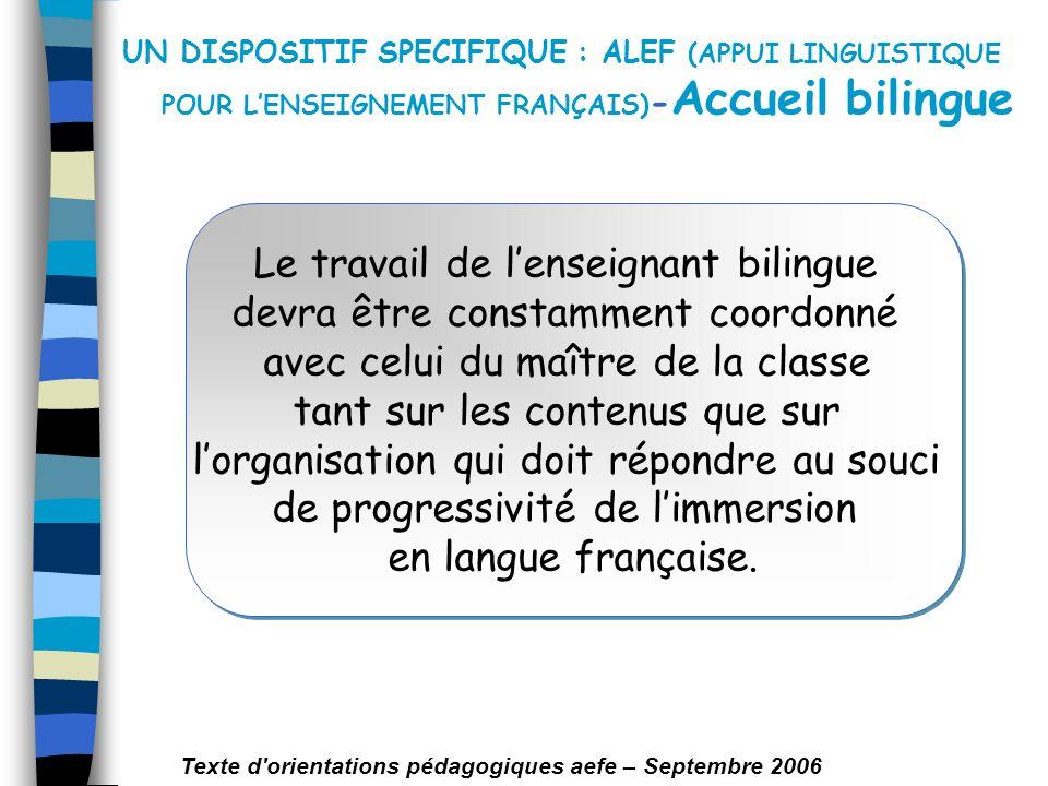 UN DISPOSITIF SPECIFIQUE : ALEF (APPUI LINGUISTIQUE POUR LENSEIGNEMENT FRANÇAIS) - Accueil bilingue Le travail de lenseignant bilingue devra être cons
