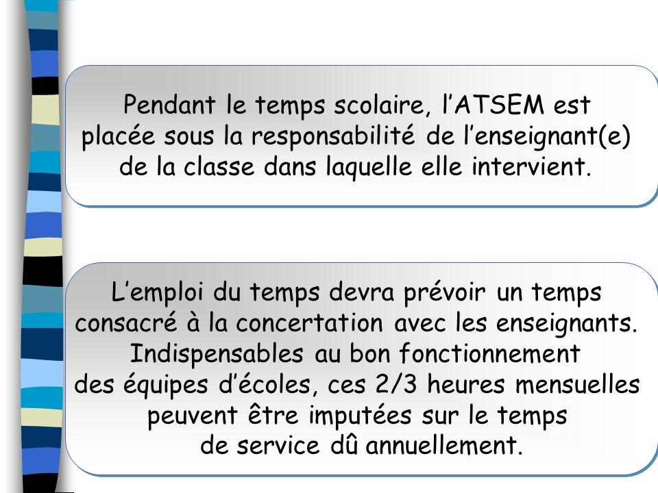 Pendant le temps scolaire, lATSEM est placée sous la responsabilité de lenseignant(e) de la classe dans laquelle elle intervient. Lemploi du temps dev