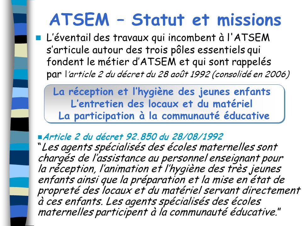 ATSEM – Statut et missions Léventail des travaux qui incombent à l'ATSEM sarticule autour des trois pôles essentiels qui fondent le métier dATSEM et q