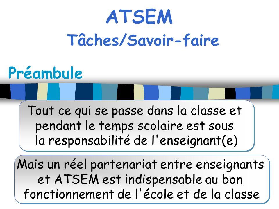 ATSEM Tâches/Savoir-faire Préambule Tout ce qui se passe dans la classe et pendant le temps scolaire est sous la responsabilité de l'enseignant(e) Tou
