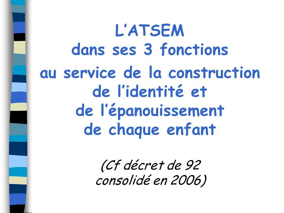LATSEM dans ses 3 fonctions au service de la construction de lidentité et de lépanouissement de chaque enfant (Cf décret de 92 consolidé en 2006)