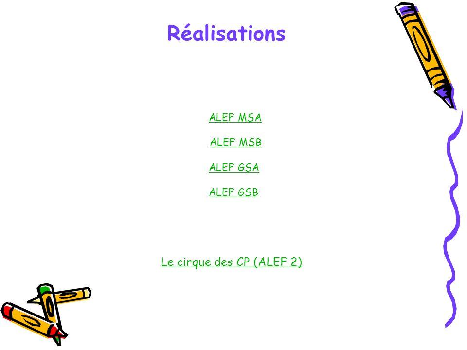 Réalisations Le cirque des CP (ALEF 2) ALEF MSA ALEF MSB ALEF GSA ALEF GSB