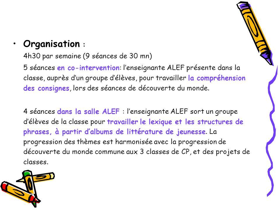 Organisation : 4h30 par semaine (9 séances de 30 mn) 5 séances en co-intervention: lenseignante ALEF présente dans la classe, auprès dun groupe délève
