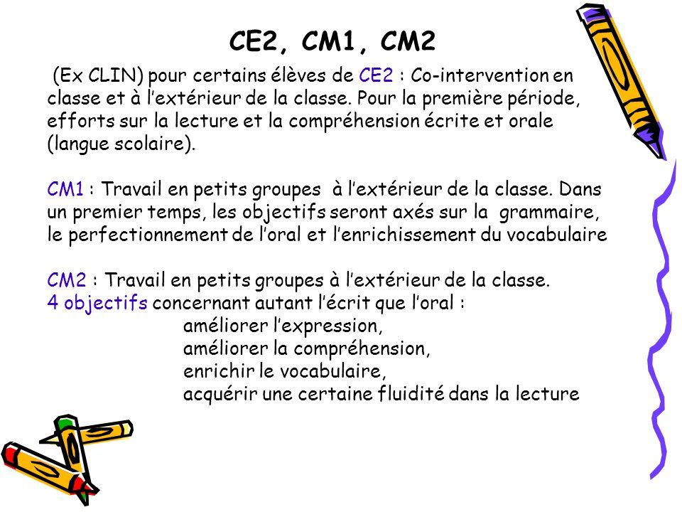 CE2, CM1, CM2 (Ex CLIN) pour certains élèves de CE2 : Co-intervention en classe et à lextérieur de la classe. Pour la première période, efforts sur la