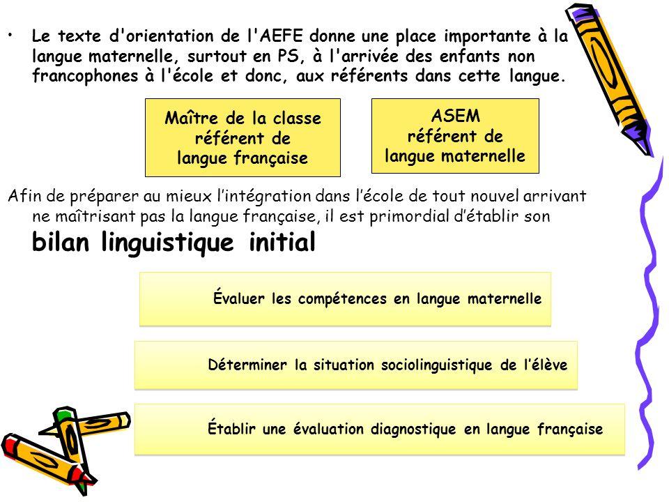 Le texte d'orientation de l'AEFE donne une place importante à la langue maternelle, surtout en PS, à l'arrivée des enfants non francophones à l'école
