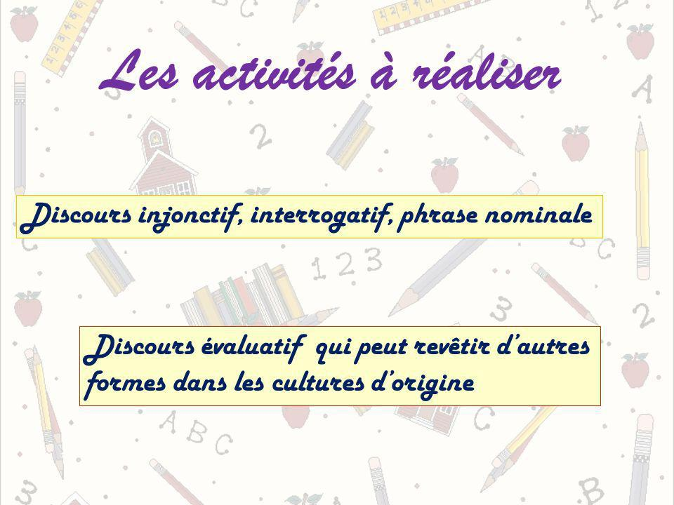 Les activités à réaliser Discours injonctif, interrogatif, phrase nominale Discours évaluatif qui peut revêtir dautres formes dans les cultures dorigine