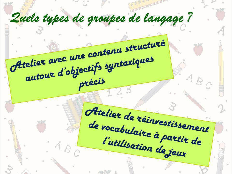 Quels types de groupes de langage ? Atelier avec une contenu structuré autour dobjectifs syntaxiques précis Atelier de réinvestissement de vocabulaire