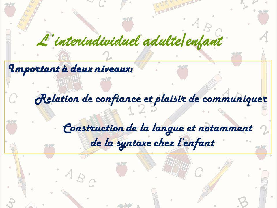 Linterindividuel adulte/enfant Important à deux niveaux: Relation de confiance et plaisir de communiquer Construction de la langue et notamment de la