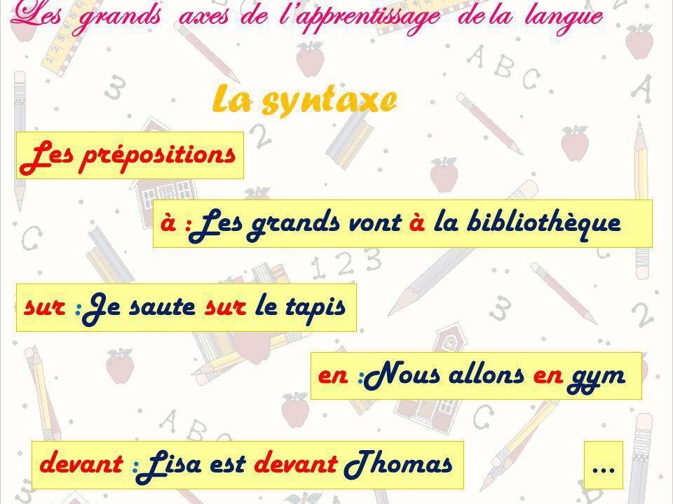 Les grands axes de lapprentissage de la langue La syntaxe Les prépositions sur :Je saute sur le tapis en :Nous allons en gym à :Les grands vont à la bibliothèque devant :Lisa est devant Thomas…