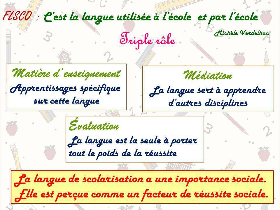 FLSCO : Cest la langue utilisée à lécole et par lécole Michèle Verdelhan Triple rôle Matière denseignement Apprentissages spécifique sur cette langue